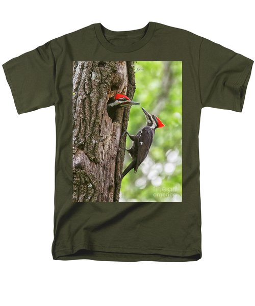 Woodpeckers Trading Places Men's T-Shirt  (Regular Fit) by Myrna Bradshaw