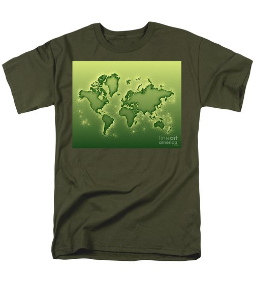 World Map Opala In Green And Yellow Men's T-Shirt  (Regular Fit) by Eleven Corners
