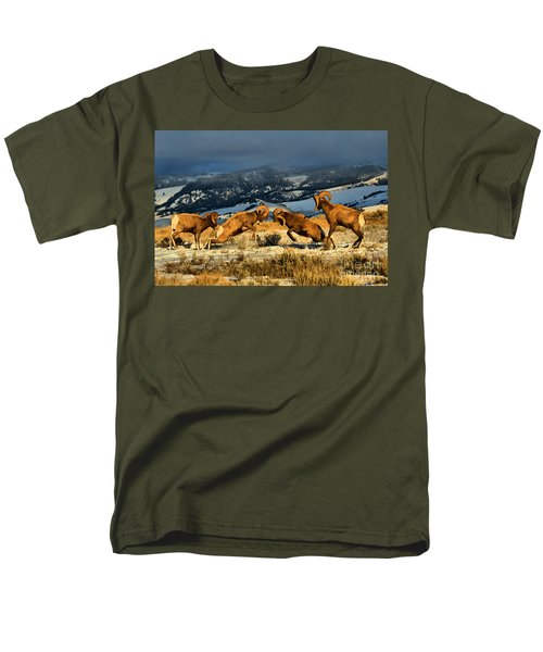 Men's T-Shirt  (Regular Fit) featuring the photograph Wyoming Bighorn Brawl by Adam Jewell