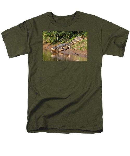Alligator Crawling Into Yakuma River Men's T-Shirt  (Regular Fit) by Aivar Mikko