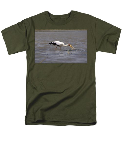 Yellow Billed Stork Wading In The Shallows Men's T-Shirt  (Regular Fit) by Aidan Moran