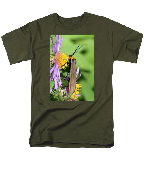 Men's T-Shirt  (Regular Fit) featuring the photograph Yellow-collared Scape Moth by Doris Potter