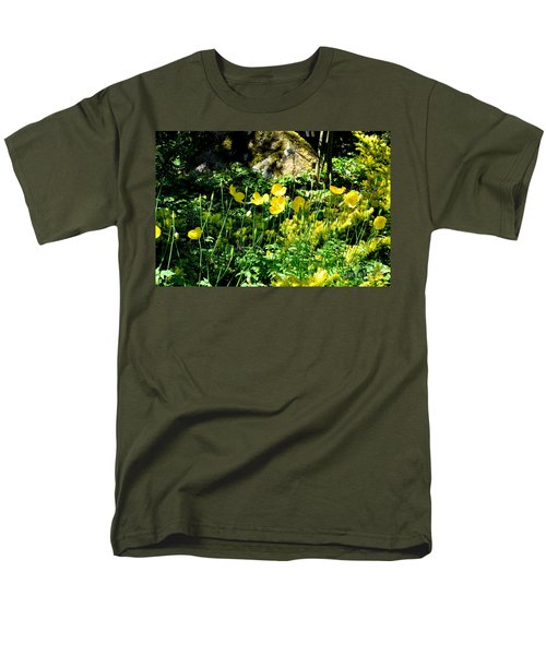 Men's T-Shirt  (Regular Fit) featuring the photograph Yellow Flowers Bathing In The Sun by Tanya Searcy