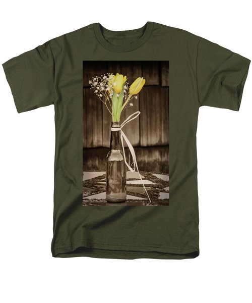 Yellow Tulips In Glass Bottle Sepia Men's T-Shirt  (Regular Fit) by Terry DeLuco