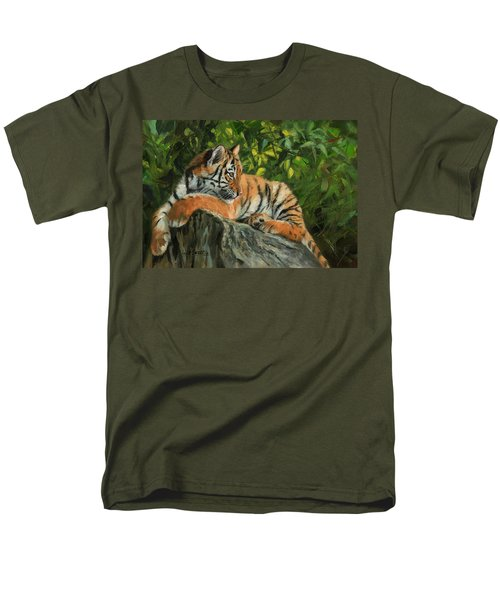 Men's T-Shirt  (Regular Fit) featuring the painting Young Tiger Resting On Rock by David Stribbling