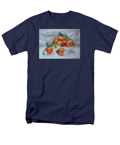 Men's T-Shirt  (Regular Fit) featuring the painting Summer Harvest  1 Persimmon Diospyros by Sandra Phryce-Jones