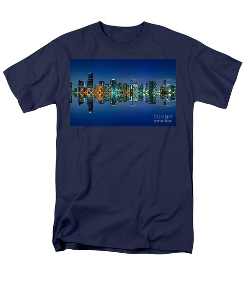 Men's T-Shirt  (Regular Fit) featuring the photograph Miami Skyline At Night by Carsten Reisinger