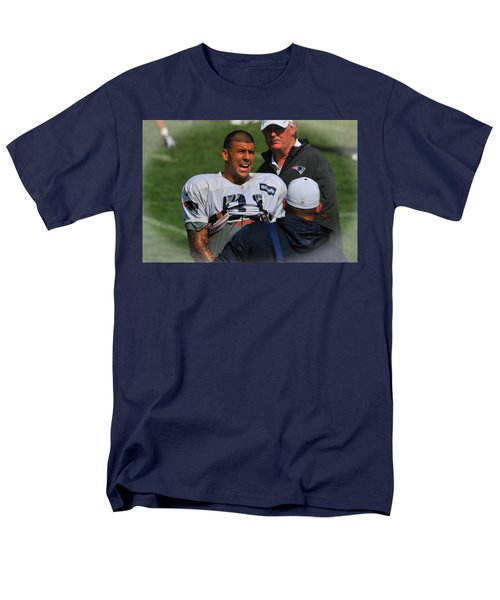 Men's T-Shirt  (Regular Fit) featuring the photograph Aaron Hernandez With Patriots Coaches by Mike Martin