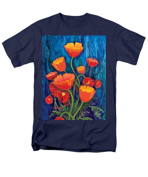 Men's T-Shirt  (Regular Fit) featuring the mixed media Alaska Poppies by Teresa Ascone