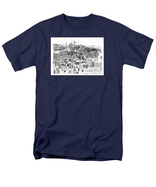 Men's T-Shirt  (Regular Fit) featuring the drawing Atlantic City Boardwalk 1890 by Ira Shander