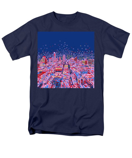 Austin Texas Abstract Panorama Men's T-Shirt  (Regular Fit) by Bekim Art