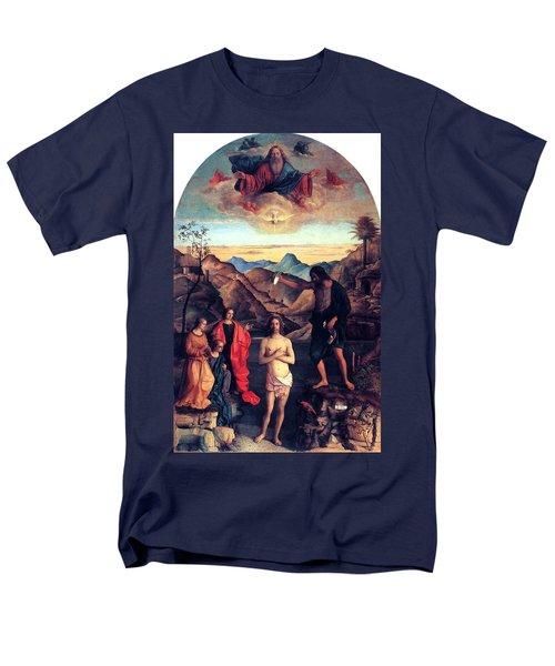 Men's T-Shirt  (Regular Fit) featuring the painting Baptism Of Christ With Saint John 1502 Giovanni Bellini by Karon Melillo DeVega