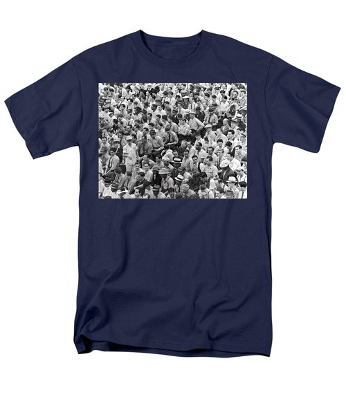 Baseball Fans In The Bleachers At Yankee Stadium. Men's T-Shirt  (Regular Fit) by Underwood Archives