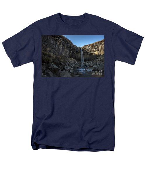 Black Waterfall Men's T-Shirt  (Regular Fit) by Gunnar Orn Arnason