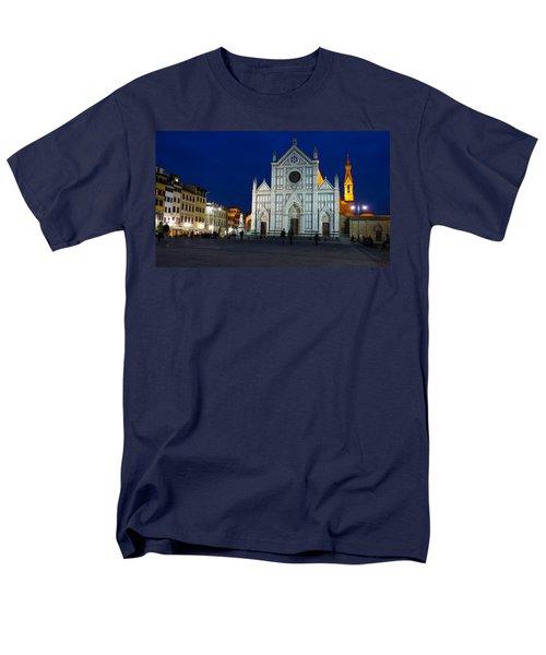 Blue Hour - Santa Croce Church Florence Italy Men's T-Shirt  (Regular Fit) by Georgia Mizuleva
