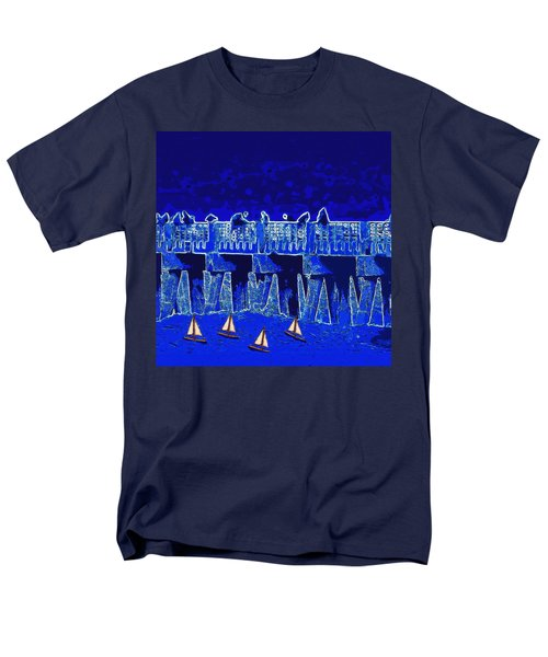 Men's T-Shirt  (Regular Fit) featuring the painting Blue II Toy Sailboats In Lake Worth by David Mckinney