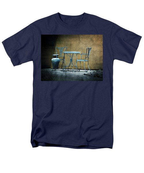 Men's T-Shirt  (Regular Fit) featuring the photograph Blue Table And Chairs by Lucinda Walter