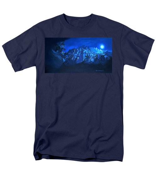 Men's T-Shirt  (Regular Fit) featuring the painting Blue Village by Joseph Hawkins