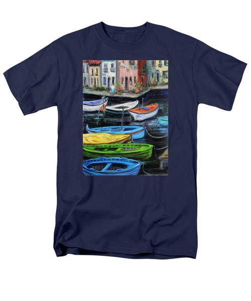 Men's T-Shirt  (Regular Fit) featuring the painting Boats In Front Of The Buildings II by Xueling Zou