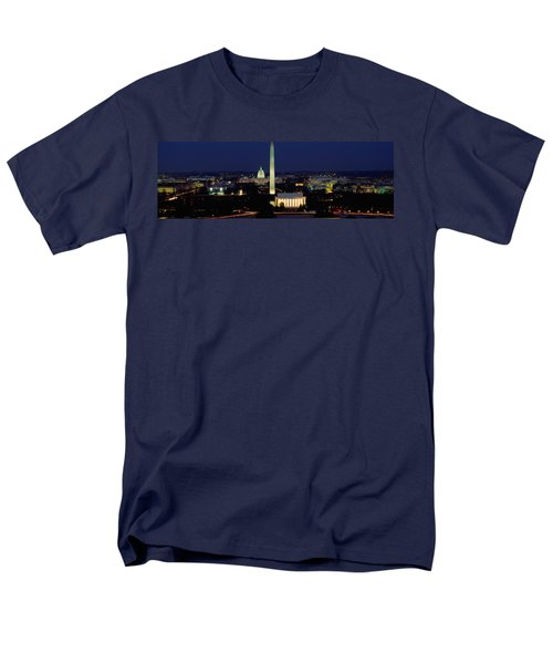 Buildings Lit Up At Night, Washington Men's T-Shirt  (Regular Fit) by Panoramic Images