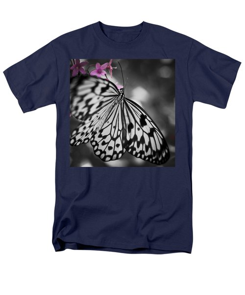 Butterfly On Pink Flowers Men's T-Shirt  (Regular Fit) by Bradley R Youngberg