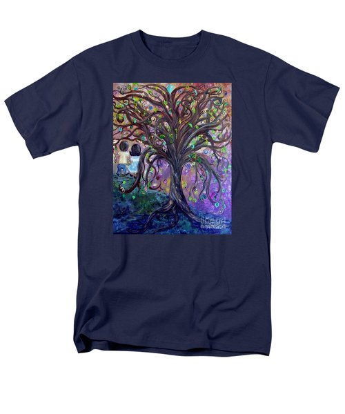 Men's T-Shirt  (Regular Fit) featuring the painting Children Under The Fantasy Tree With Jackie Joyner-kersee by Eloise Schneider