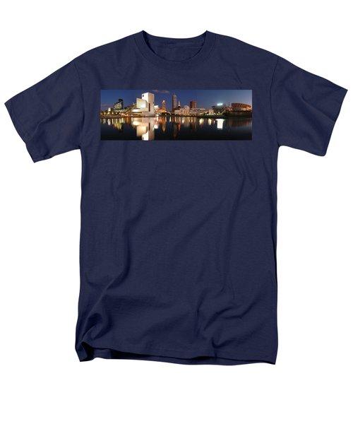 Cleveland Skyline At Dusk Men's T-Shirt  (Regular Fit) by Jon Holiday