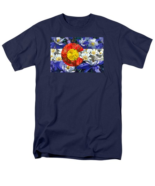 Men's T-Shirt  (Regular Fit) featuring the photograph Colorado State Flag With Wildflower Textures by Aaron Spong