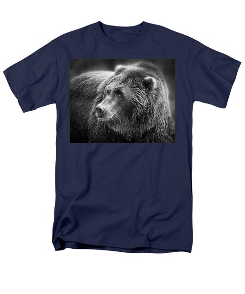 Drinking Grizzly Bear Black And White Men's T-Shirt  (Regular Fit) by Steve McKinzie