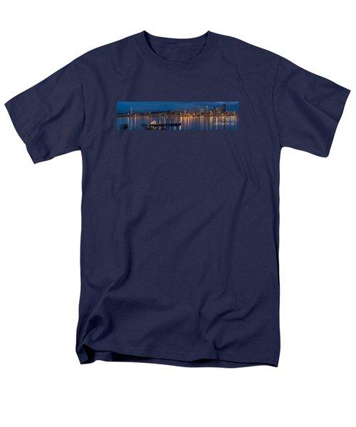 Elliott Bay Seattle Skyline Night Reflections  Men's T-Shirt  (Regular Fit) by Mike Reid