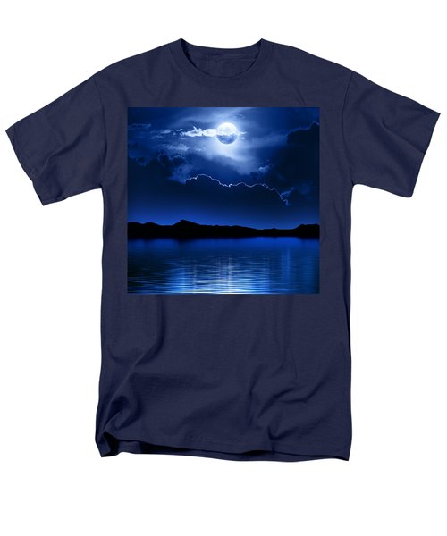 Fantasy Moon And Clouds Over Water Men's T-Shirt  (Regular Fit) by Johan Swanepoel