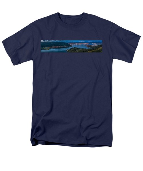 Men's T-Shirt  (Regular Fit) featuring the photograph Ferrol's Estuary Panorama From La Bailadora Galicia Spain by Pablo Avanzini