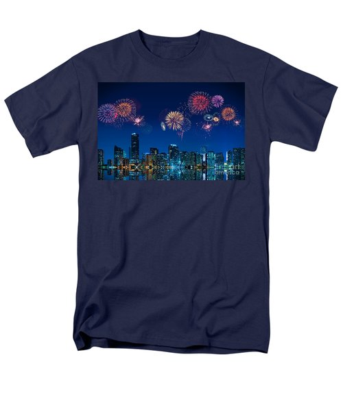 Men's T-Shirt  (Regular Fit) featuring the photograph Fireworks In Miami by Carsten Reisinger