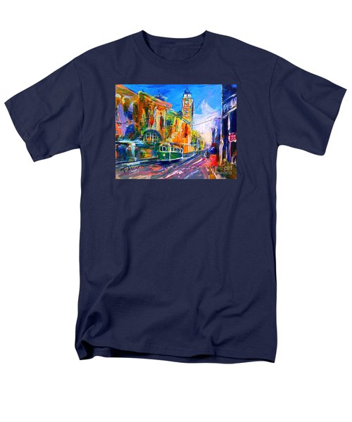 Men's T-Shirt  (Regular Fit) featuring the painting Flinders Street - Original Sold by Therese Alcorn