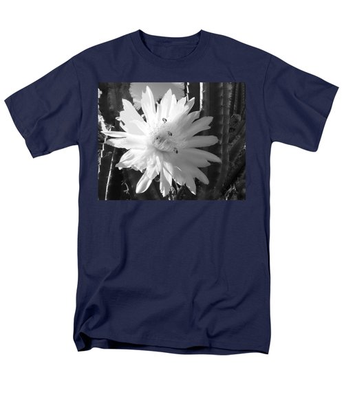 Men's T-Shirt  (Regular Fit) featuring the photograph Flowering Cactus 5 Bw by Mariusz Kula
