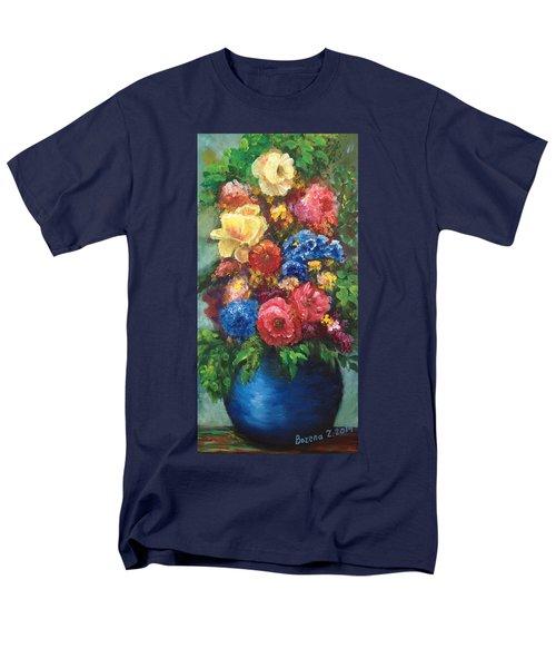 Men's T-Shirt  (Regular Fit) featuring the painting Flowers by Bozena Zajaczkowska