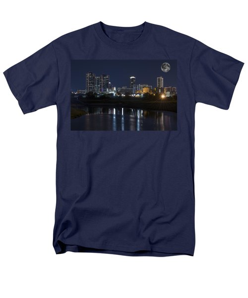 Fort Worth Skyline Super Moon Men's T-Shirt  (Regular Fit) by Jonathan Davison