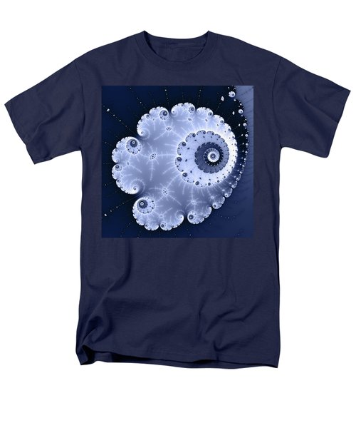 Fractal Spiral Light And Dark Blue Colors Men's T-Shirt  (Regular Fit) by Matthias Hauser