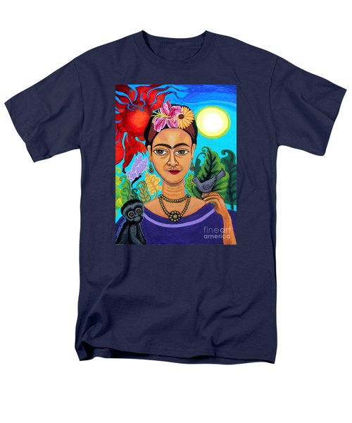 Frida Kahlo With Monkey And Bird Men's T-Shirt  (Regular Fit) by Genevieve Esson