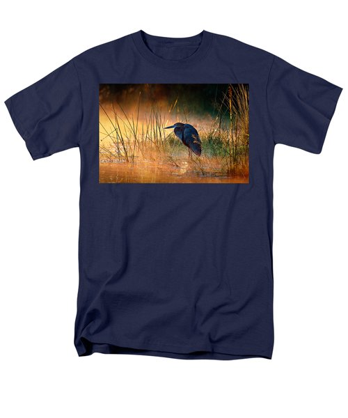 Goliath Heron With Sunrise Over Misty River Men's T-Shirt  (Regular Fit) by Johan Swanepoel