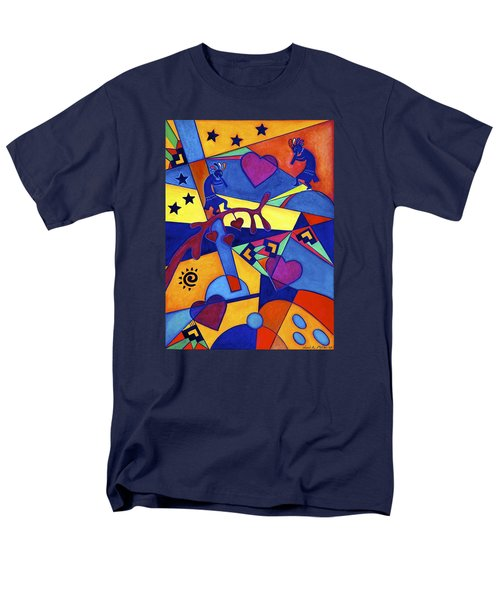 Men's T-Shirt  (Regular Fit) featuring the painting Harvesting The Love Kokopelli Art  by Lori Miller