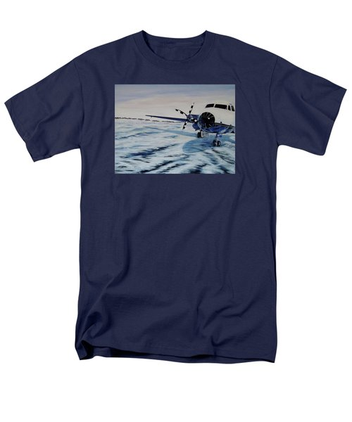 Men's T-Shirt  (Regular Fit) featuring the painting Hawker - Airplane On Ice by Marilyn  McNish