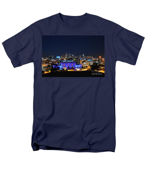 Kansas City Union Station In Blue  Men's T-Shirt  (Regular Fit) by Catherine Sherman