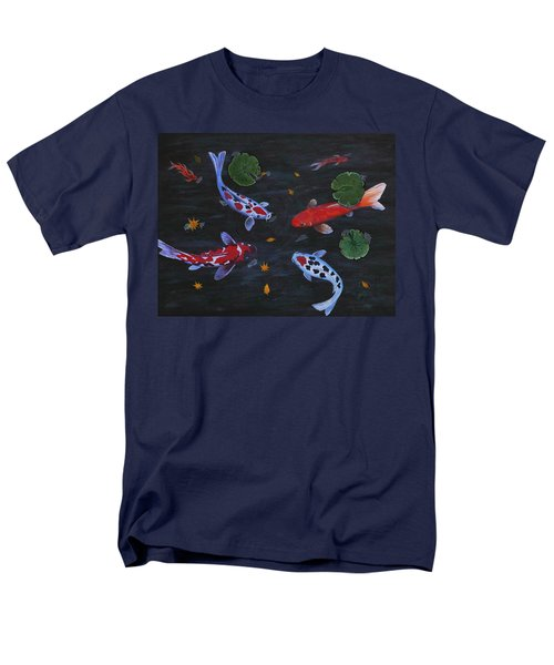 Men's T-Shirt  (Regular Fit) featuring the painting Koi Fishes Original Acrylic Painting by Georgeta  Blanaru