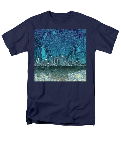 Los Angeles Skyline Abstract 5 Men's T-Shirt  (Regular Fit) by Bekim Art