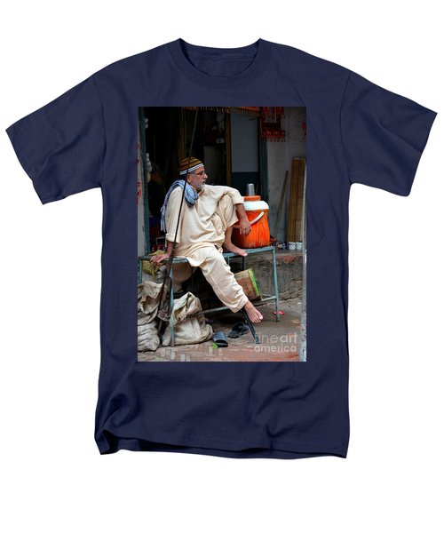 Man Sits And Relaxes In Lahore Walled City Pakistan Men's T-Shirt  (Regular Fit) by Imran Ahmed