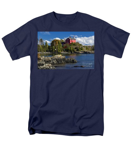 Marquette Harbor Light - D003224 Men's T-Shirt  (Regular Fit) by Daniel Dempster