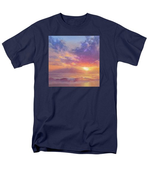 Maui To Molokai Hawaiian Sunset Beach And Ocean Impressionistic Landscape Men's T-Shirt  (Regular Fit) by Karen Whitworth