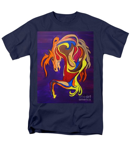 Men's T-Shirt  (Regular Fit) featuring the painting Merry Go Round Carousel Horse by Janice Rae Pariza
