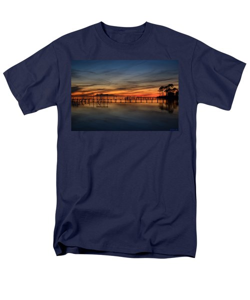 Men's T-Shirt  (Regular Fit) featuring the photograph Mirrored Sunset Colors On Santa Rosa Sound by Jeff at JSJ Photography